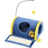 青&黄色の配色が素敵なネコハウス