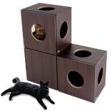 自由に組み合わせて使える収納付きの猫用家具