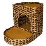 モダンな編みかご風のキャットベッド