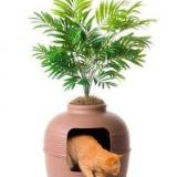 植木鉢と一体化した猫トイレ