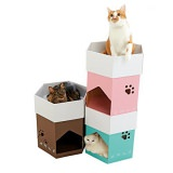 積み重ねて使える六角形の猫用ダンボールハウス