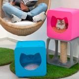 ネオンカラーのボックス型キャットハウス