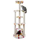カラフルなドット柄のキャットタワー