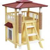 屋外でも使えるドイツ製の木製2階建てキャットハウス