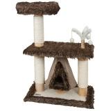 ゴージャスなファーに覆われた小型キャットタワー