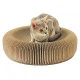 猫の体にぴったりフィットするベーグル型の爪とぎベッド