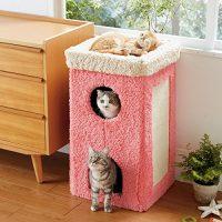 ハンモックのように快適な寝心地の2階建てキャットハウス
