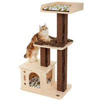 ネコ型窓の木製キャットハウスが付いたキャットタワー