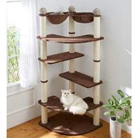 2匹の猫が仲良く使えるハンモック付き大型キャットタワー